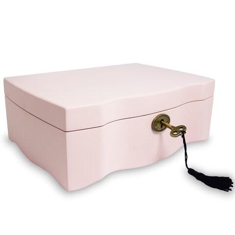 Ikee Design Premium Pink Wooden Musical Jewelry Box Organizer Storage with Lock and Key
