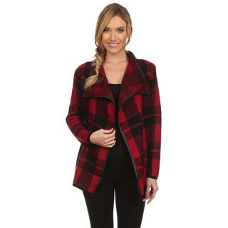 High Secret Women's Red/Black Acrylic Checkered Knit Draped Neck Open-front Cardigan|https://ak1.ostkcdn.com/images/products/13847423/P20490005.jpg?impolicy=medium