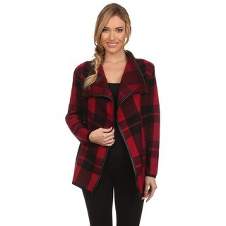 High Secret Women's Red/Black Acrylic Checkered Knit Draped Neck Open-front Cardigan