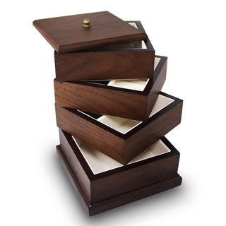 Ikee Design Premium Wooden Swivel Jewelry Storage Box