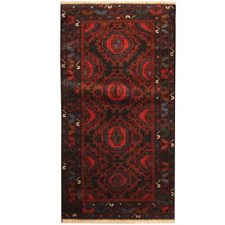 Herat Oriental Afghan Hand-knotted Tribal Balouchi Wool Rug (3'7 x 6'11)
