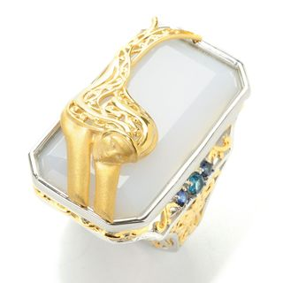 Michael Valitutti Palladium Silver Blue Chalcedony, London Blue Topaz and Blue Sapphire Octagon Sculpted Mermaid Ring