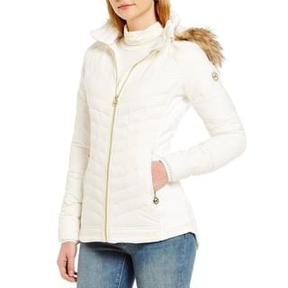 Michael Kors Women's Ivory Faux Fur Hooded Packable