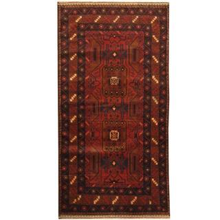 Herat Oriental Afghan Hand-knotted Tribal Balouchi Wool Rug (3'3 x 6'5)