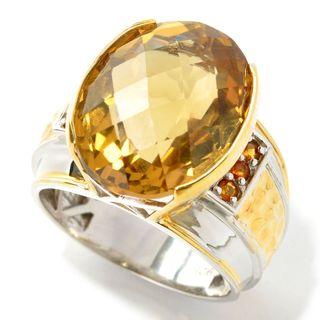 Michael Valitutti Palladium Silver Oval Checkerboard Cut Zambian & Madeira Citrine Men's Ring