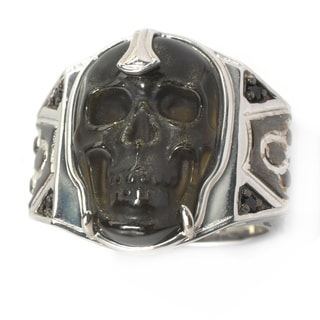 Michael Valitutti Palladium Silver Carved Obsidian Skull & Black Spinel Men's Ring