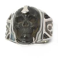 Michael Valitutti Palladium Silver Men's Carved Obsidian Skull and Black Spinel Ring