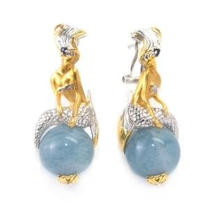 Michael Valitutti Palladium Silver Aquamarine & Blue Sapphire Mermaid Earrings with Omega Back