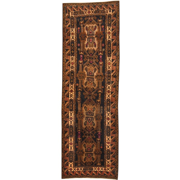 Herat Oriental Afghan Hand-knotted Tribal Balouchi Wool Runner (2'11 x 9')