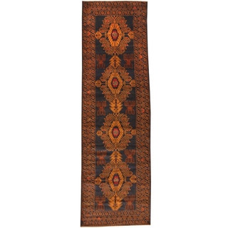 Herat Oriental Afghan Hand-knotted Tribal Balouchi Wool Runner (3'1 x 9'7)