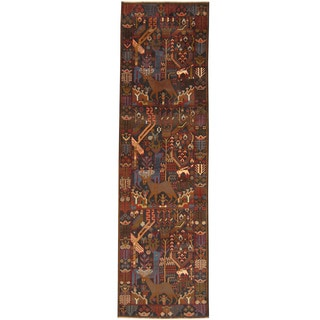 Herat Oriental Afghan Hand-knotted Tribal Balouchi Wool Runner (2'9 x 9'6)