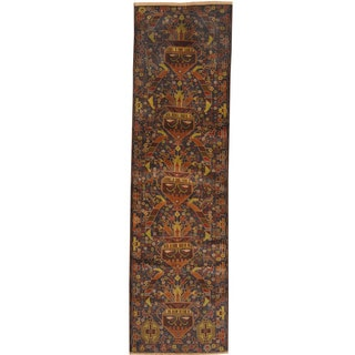Herat Oriental Afghan Hand-knotted Tribal Balouchi Wool Runner (3'9 x 9'10)
