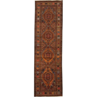 Herat Oriental Afghan Hand-knotted Tribal Balouchi Wool Runner (3' x 10'1)