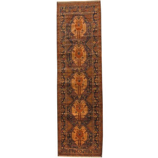 Herat Oriental Afghan Hand-knotted Tribal Balouchi Wool Runner (2'10 x 9'8)
