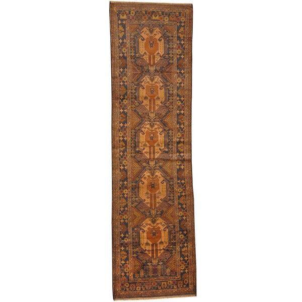 Herat Oriental Afghan Hand-knotted Tribal Balouchi Wool Runner (2'8 x 9'6)