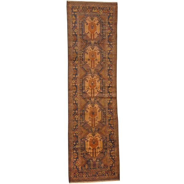Herat Oriental Afghan Hand-knotted Tribal Balouchi Wool Runner (2'8 x 9'6) - 2'8 x 9'6