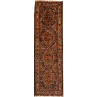 Herat Oriental Afghan Hand-knotted Tribal Balouchi Wool Runner (3'1 x 9'10)