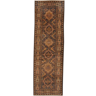 Herat Oriental Afghan Hand-knotted Tribal Balouchi Wool Runner (2'11 x 9'5)