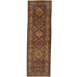Herat Oriental Afghan Hand-knotted Tribal Balouchi Wool Runner (2'11 x 9'5)