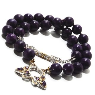 Michael Valitutti Palladium Silver Purple Quartz Bead & African Amethyst Butterfly Two-Strand Toggle Bracelet