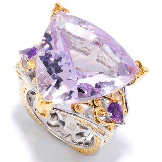 Michael Valitutti Palladium Silver Trillion Multi Amethyst & Pink Sapphire Ring