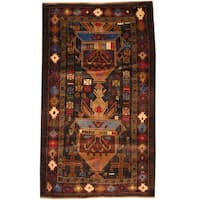 Herat Oriental Afghan Hand-knotted Tribal Balouchi Wool Rug (2'9 x 4'10)