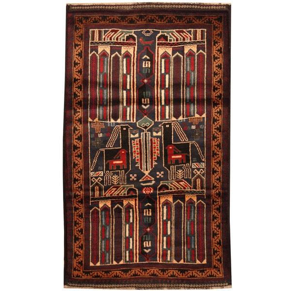 Handmade Herat Oriental Afghan Tribal Balouchi Wool Rug - 2'8 x 4'6 (Afghanistan)
