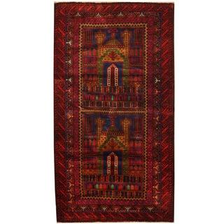 Herat Oriental Afghan Hand-knotted Tribal Balouchi Wool Rug (2'9 x 5'1)