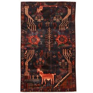 Herat Oriental Afghan Hand-knotted Tribal Balouchi Wool Rug (2'9 x 4'5)