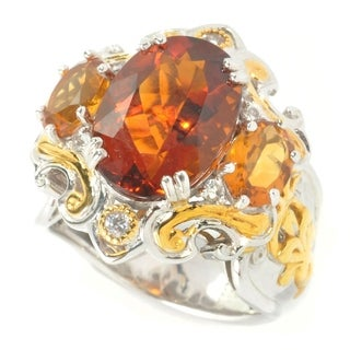 Michael Valitutti Palladium Silver Oval Madeira Citrine & White Sapphire Three-Stone Ring
