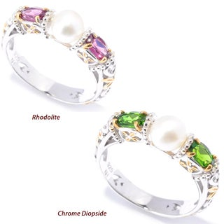 Michael Valitutti Palladium Silver Freshwater Cultured Pearl & Rhodolite / Chrome Diopside Stack Band Ring