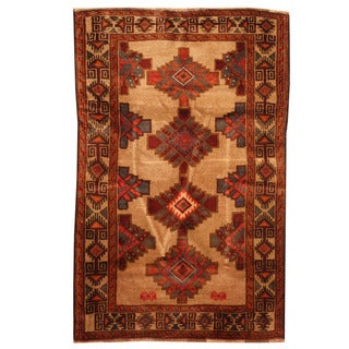 Herat Oriental Afghan Hand-knotted Tribal Balouchi Wool Rug (3'2 x 4'9)