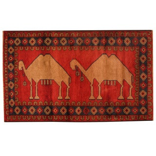Herat Oriental Afghan Hand-knotted Tribal Balouchi Wool Rug (2'9 x 4'6)