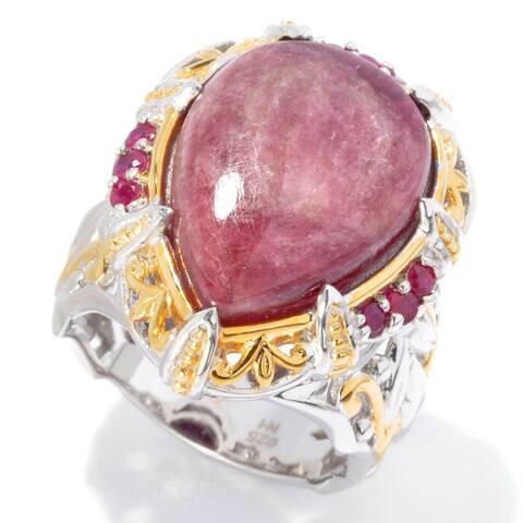 Michael Valitutti Palladium Silver Pear Shaped Pink Tourmaline & Ruby Ring