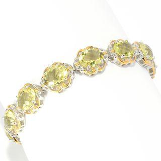 Michael Valitutti Palladium Silver Oval Ouro Verde Toggle Bracelet