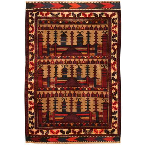 Handmade One-of-a-Kind Balouchi Wool Rug (Afghanistan) - 3' x 4'6