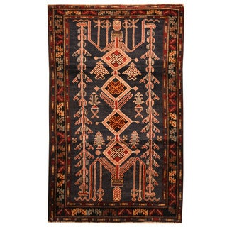 Herat Oriental Afghan Hand-knotted Tribal Balouchi Wool Rug (3'1 x 5')