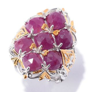Michael Valitutti Palladium Silver Cushion-cut Ruby Quilted Seven-Stone Ring