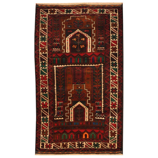 Herat Oriental Afghan Hand-knotted Tribal Balouchi Wool Rug - 2'8 x 4'6
