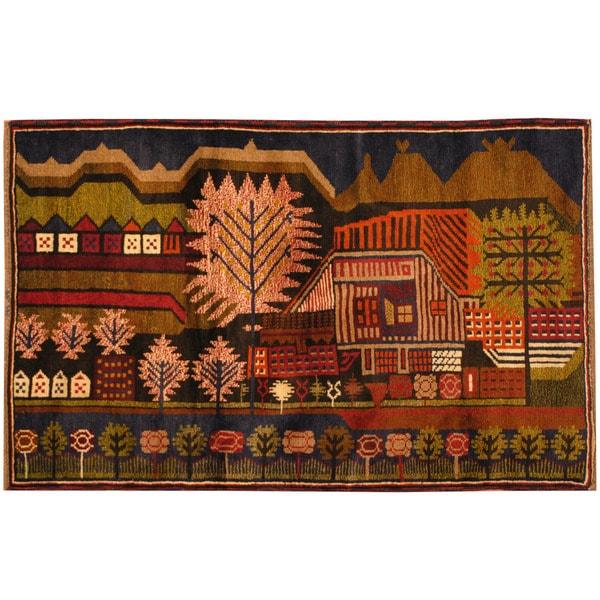 Handmade Herat Oriental Afghan Tribal Balouchi Wool Rug (Afghanistan) - 2'10 x 4'5