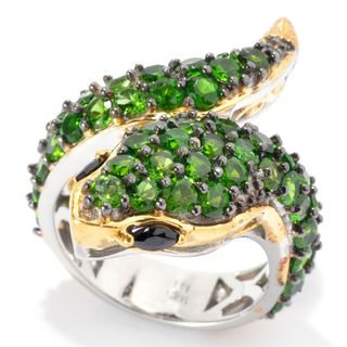 Michael Valitutti Palladium Silver Chrome Diopside & Black Spinel Snake Ring