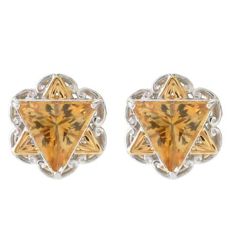 Gems en Vogue Palladium Silver Trillion Citrine Star of David Button Stud Earrings