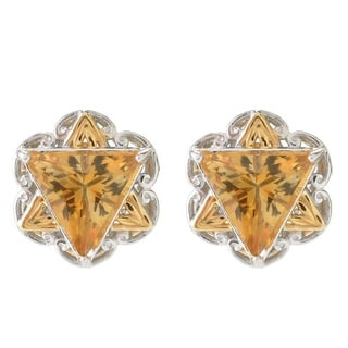 Michael Valitutti Palladium Silver Trillion Citrine Star of David Button Stud Earrings