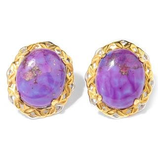 Michael Valitutti Palladium Silver Oval Purple Mohave Turquoise Stud Earrings
