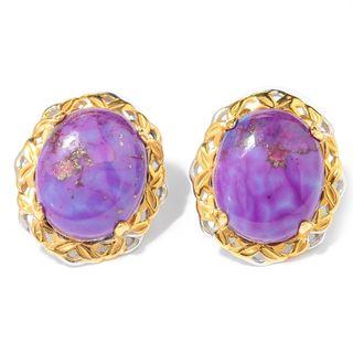 Michael Valitutti Palladium Silver Oval Purple Mohave Turquoise Stud Earrings