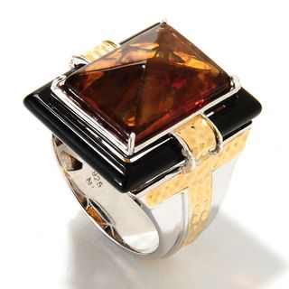 Michael Valitutti Palladium Silver Pyramid Cut Baltic Amber & Black Onyx Men's Ring