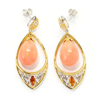 Michael Valitutti Palladium Silver Salmon Bamboo Coral & Madeira Citrine Teardrop Earrings