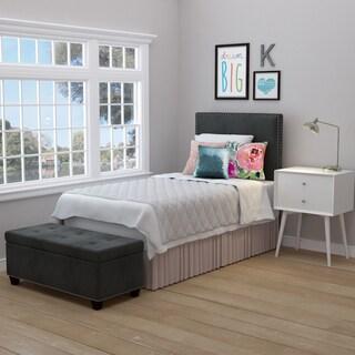 Handy Living Arabella Grey Velvet Upholstered Twin Headboard and Tufted Bench Storage Ottoman