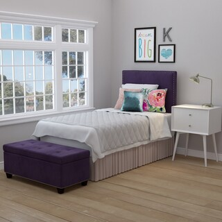 Handy Living Arabella Plum Purple Velvet Upholstered Twin Headboard and Tufted Bench Storage Ottoman
