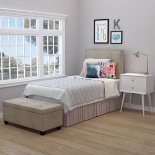 Handy Living Arabella Oatmeal Velvet Upholstered Twin Headboard and Tufted Bench Storage Ottoman